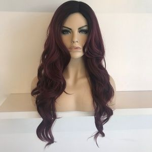 "Her Wig Closet Accessories - 30"" Side Part Burgundy Wavy Wig   Louisa"